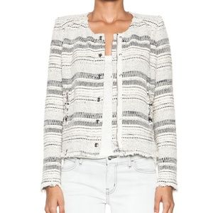 IRO Lizzie Tweed Frayed Textured Jacket Noir